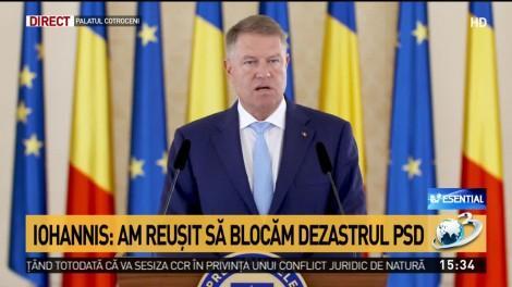 """Klaus Iohannis, prima reacție după ce moțiunea de cenzură a trecut: """"Rezolvat! Astăzi a câștigat România. Alegerile anticipate sunt soluția"""""""