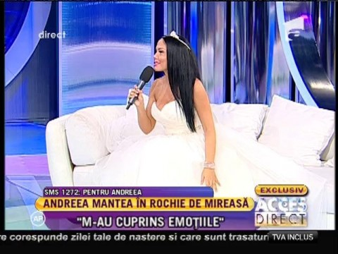 Andreea Mantea, în rochie de mireasă