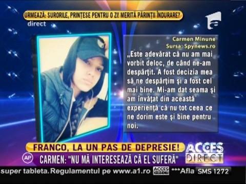 """Carmen Minune: """"Nu mă interesează că Franco suferă după mine!"""""""