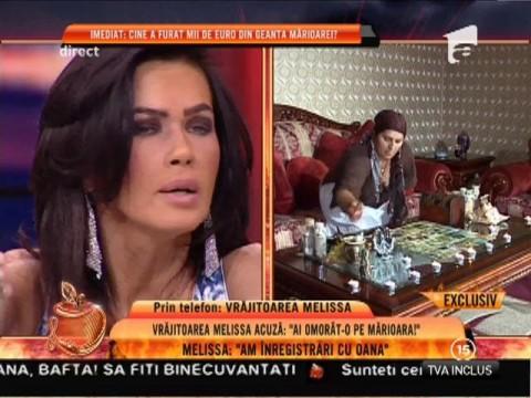 """Vrăjitoarea Melissa: """"Oana Zăvoranu o să ajungă la pușcărie. Am înregistrări"""""""