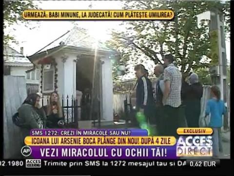 Icoana lui Arsenie Boca plânge din nou, după patru zile!