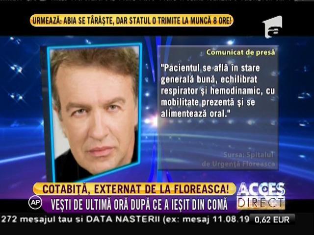 Gabriel Cotabiţă, externat de la Spitalul de Urgenţă Floreasca