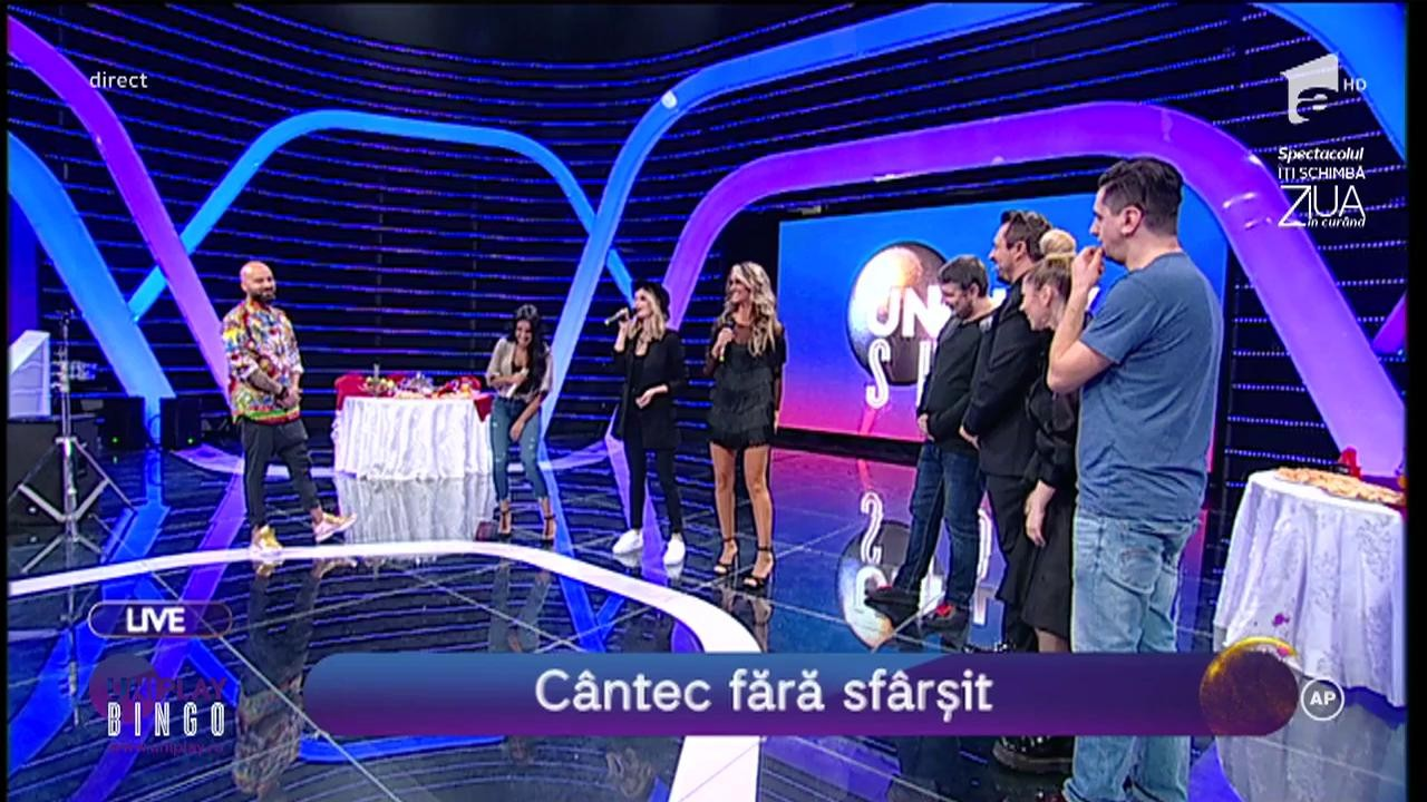 """Cea mai tare probă la Uniplay Show! Diana Munteanu a învins o armată de băieți și trei fete superbe în proba """"Cântecului fără sfârșit"""""""