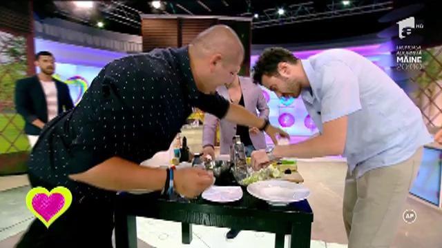 Provocare de zile mari pentru cei trei chefi! Octavian Manole, Gianny Bănuță și Cristian Șerb pregătesc pe loc câte o salată pentru soțiile lor