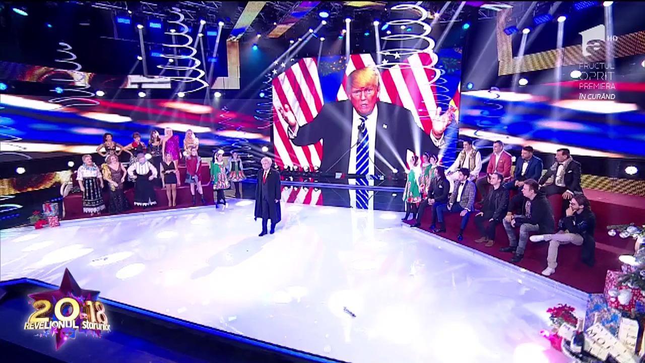 Donald Trump a făcut Revelionul 2018 în România! Nea Mărin a lăsat folclorul și a devenit, pentru o noapte, cel mai puternic om al lumii!