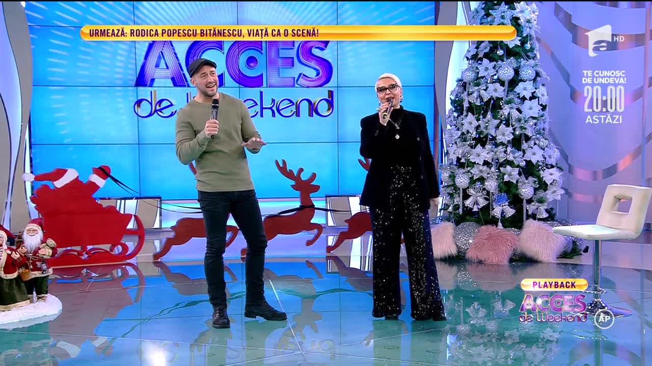 Monica Anghel şi fratele artistei, Alexandru, spectacol muzical la Acces Direct