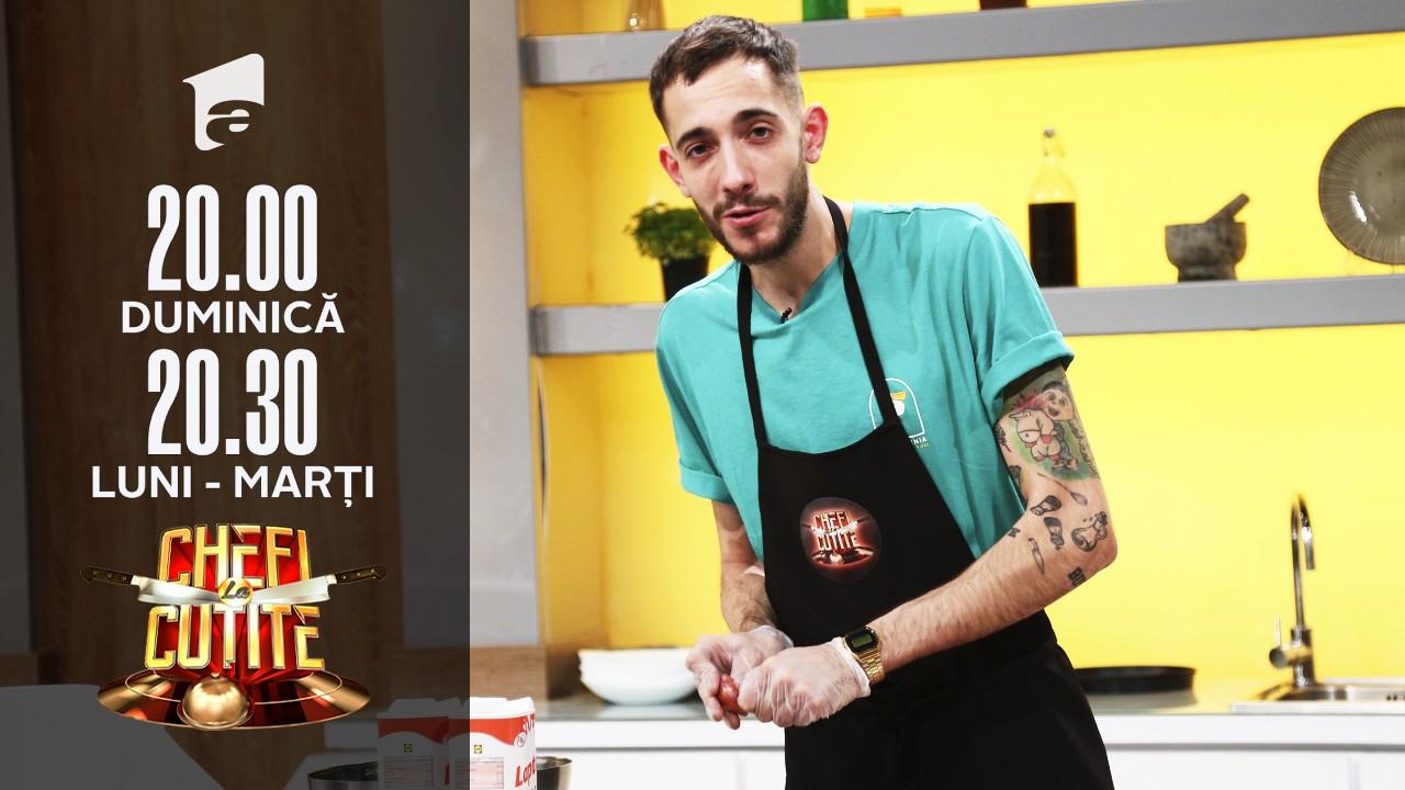 """Pintea Luca gătește un preparat """"bărbătesc"""" la Chefi la cuțite: T-Bone cu piure de ceapă și kale"""