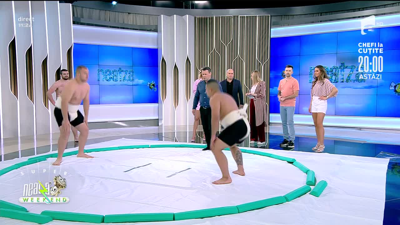 Super demonstrație de sumo, în direct, la Neatza de Weekend