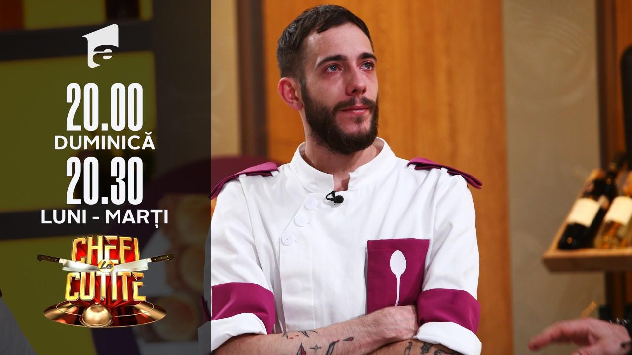 """Luca Pintea, eliminat de la Chefi la cuţite! Chef Scărlătescu, foc şi pară pe cuţitul său de aur! """"Pe tine cade tot, Alex!"""""""