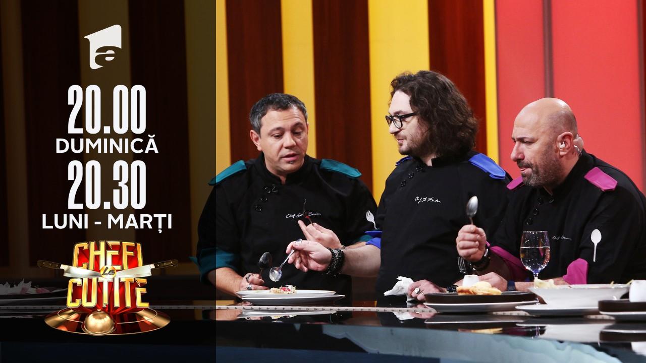 Degustarea probei individuale. Chef Dumitrescu și chef Bontea sunt impresionați, nu și chef Scărlătescu