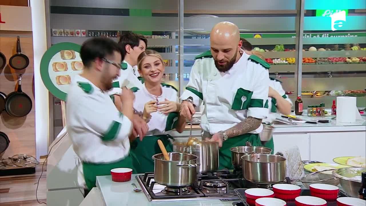 """Doi dintre concurenţii echipei verzi sunt precum soţul şi soţia! Chef Sorin Bontea: """"Riki, îţi iei bătaie, treaba ta!"""""""