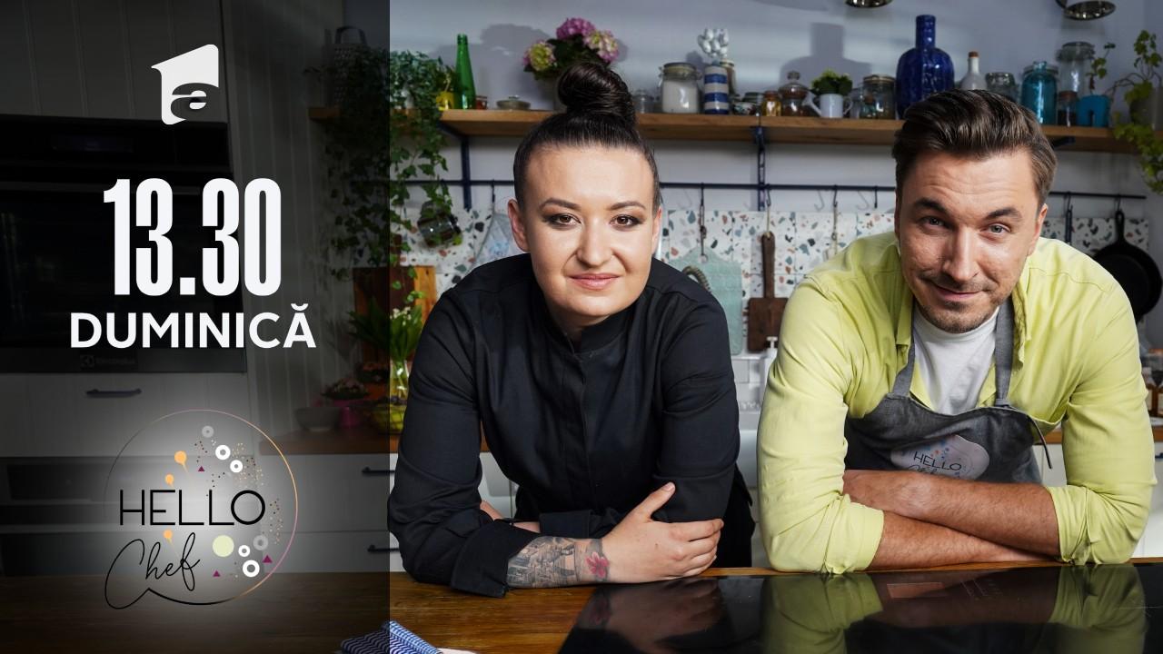 """Roxana Blenche şi medicul Mihail Pautov prepară garnitura de murături pentru """"Somonul în crustă de măsline"""""""