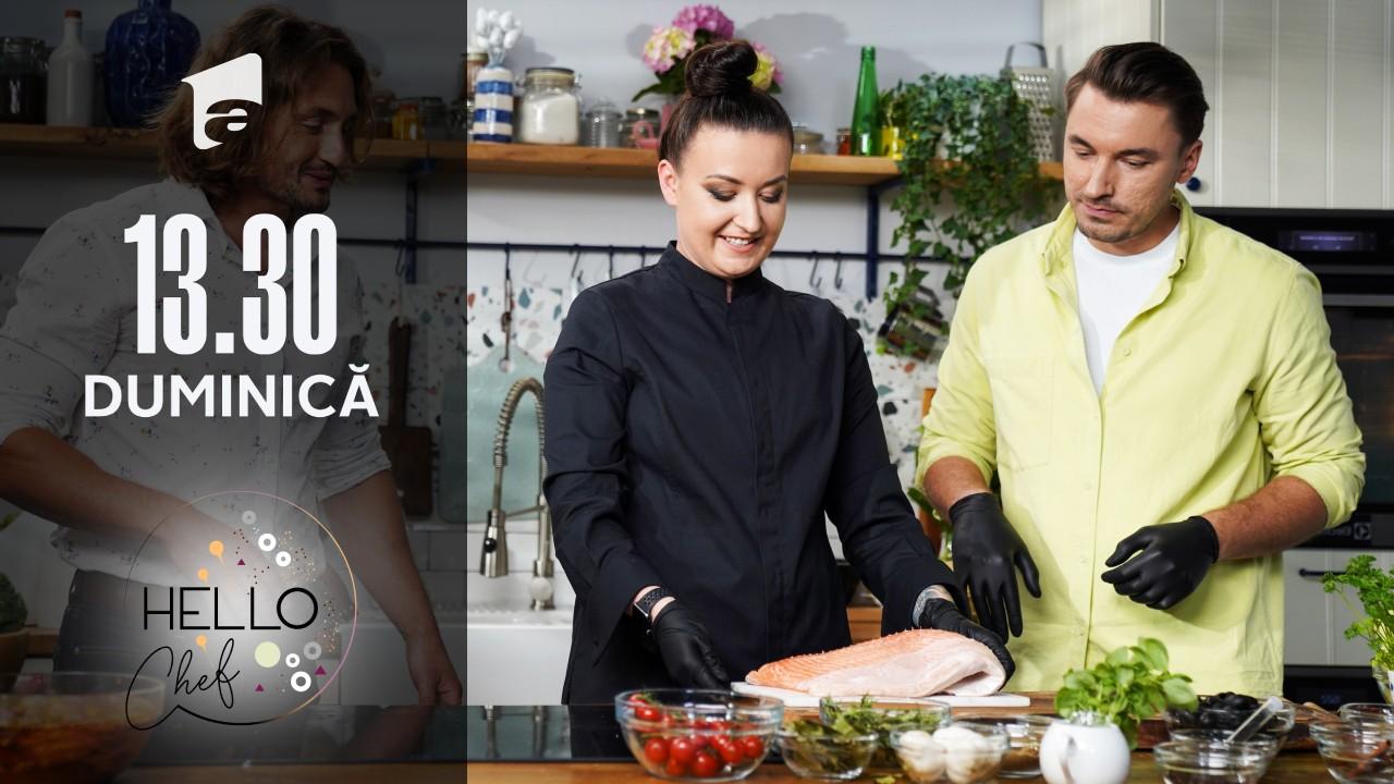 """Roxana Blenche şi medicul Mihail Pautov prepară o reţetă de """"Somon în crustă de măsline"""""""