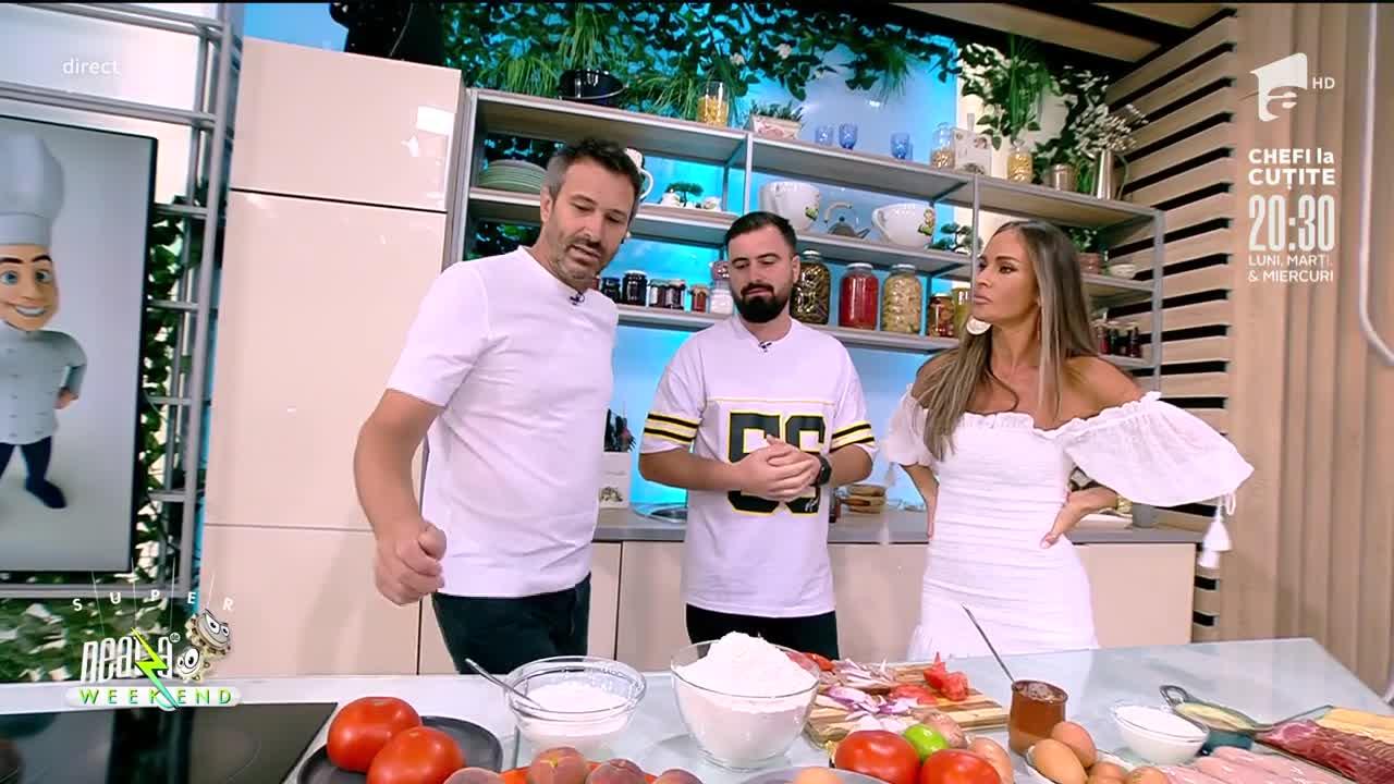 """Nicolai Tand și Cătălin Rizea fac echipă la Neatza de Weekend. Au gătit """"Pui cu sos de usturoi şi smântână""""şi """"Piersici caramelizate cu iaurt"""""""