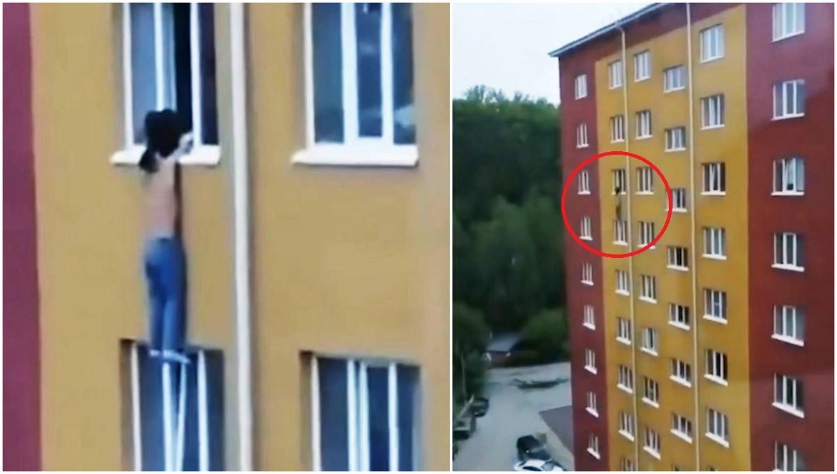 O femeie şi-a salvat iubitul agăţat de pervazul ferestrei, la etajul 8, ținându-l de mâini până la sosirea salvatorilor, în Rusia