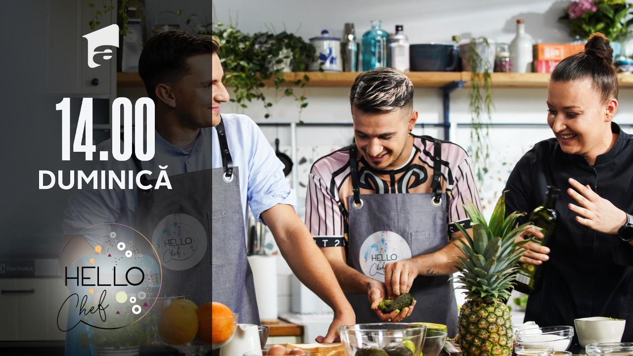 Hello Chef sezonul 2, 5 septembrie 2021. Roxana Blenche, Keed și Cristian Boca gătesc ananas murat
