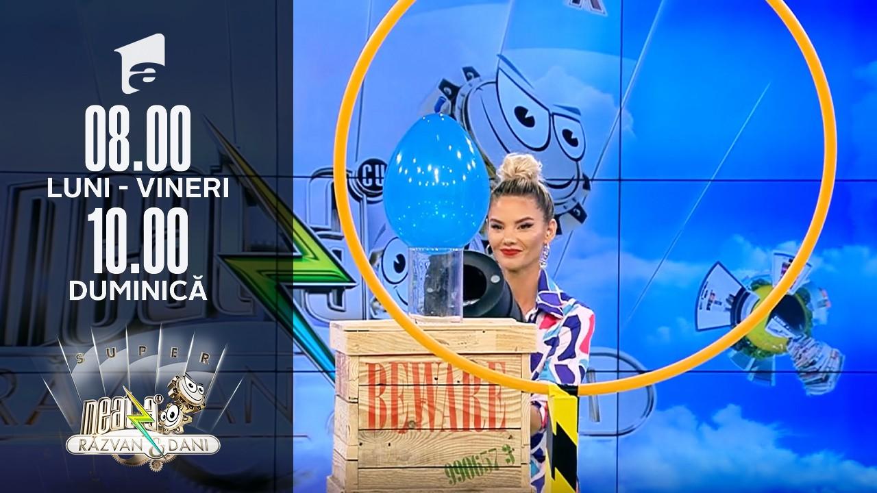 """Super Neatza, 15 septembrie 2021. Jocul - cum să ghidonezi un balon cu """"airbazooka"""""""