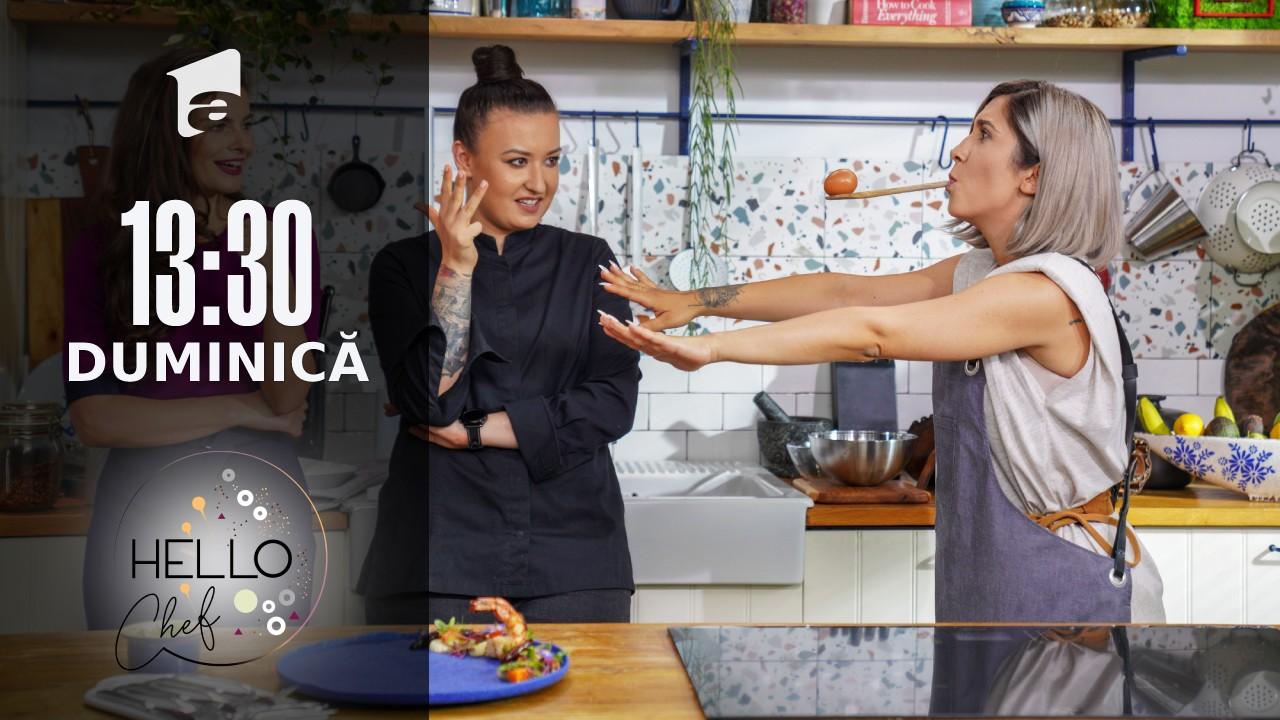 Hello Chef sezonul 2, 26 septembrie 2021. Roxana Blenche şi Adda prepară creveți cu sparanghel