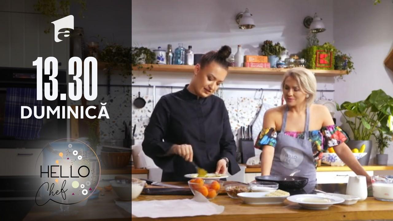 Hello Chef sezonul 2, 17 octombrie 2021. Roxana Blenche și Mirela Vaida au preparat tartă cu cremă de fistic