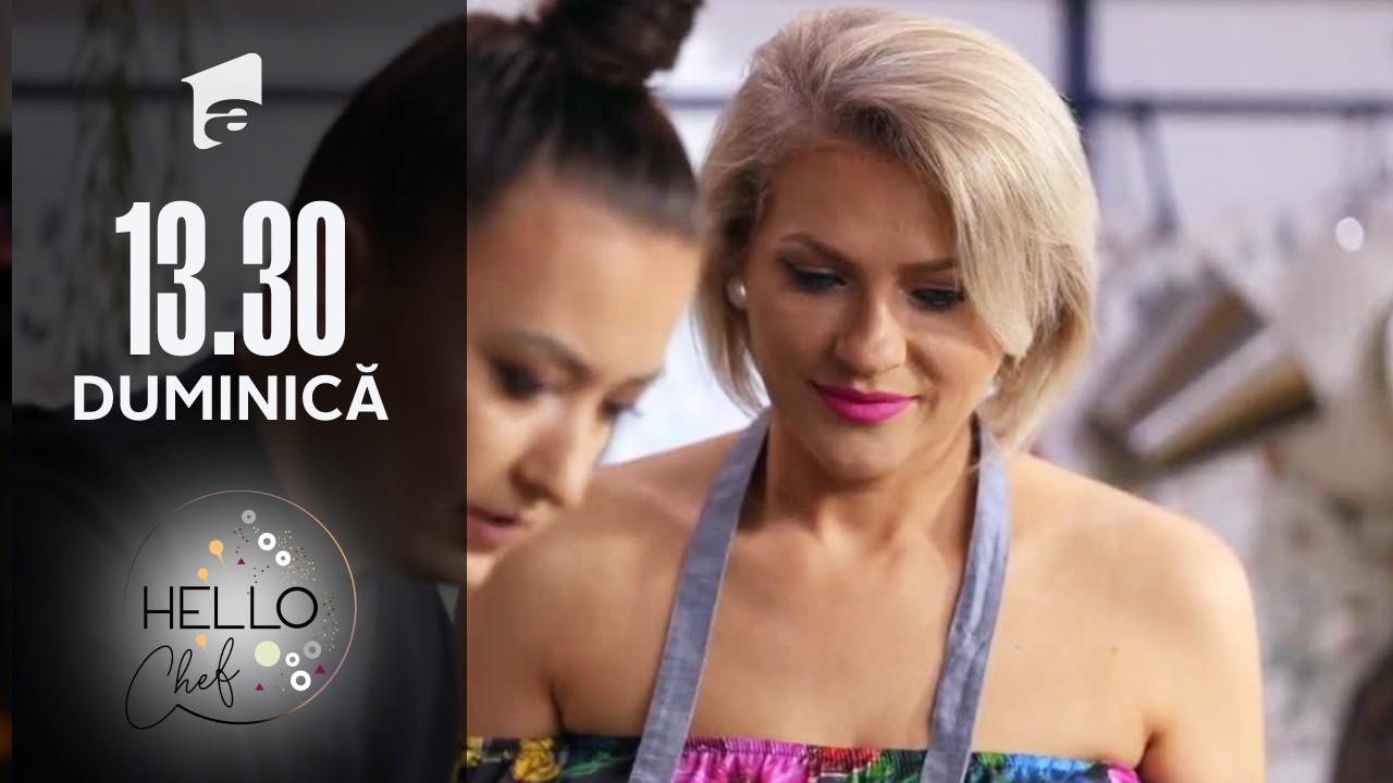 Hello Chef sezonul 2, 17 octombrie 2021. Roxana Blenche și Mirela Vaida au preparat ciulama de pui cu mămăligă aromatizată