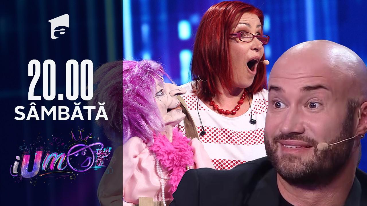 """iUmor Sezonul 11, 23 octombrie 2021. Julia Kolarova și păpușă de ventriloc care s-a """"îndrăgostit"""" nebunește de Mihai Bendeac"""