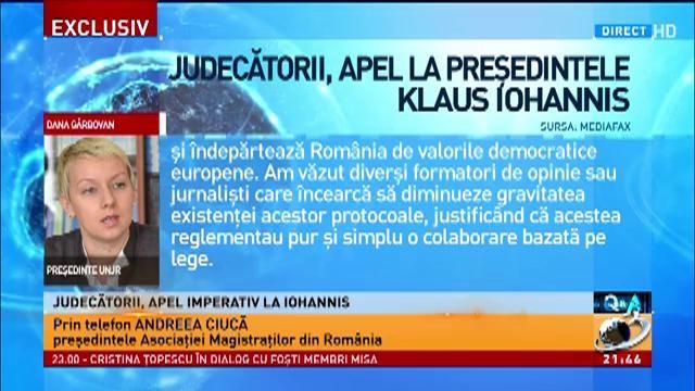 Preşedintele Asociaţiei Magistraţilor din România, la Q&A: