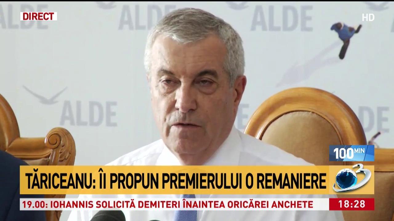 Călin Popescu Tăriceanu: Îi propun premierului o remaniere