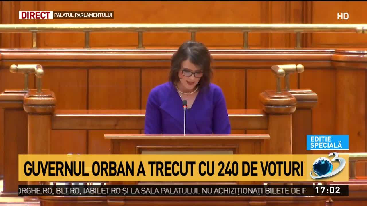 Guvernul Orban a trecut cu 240 de voturi