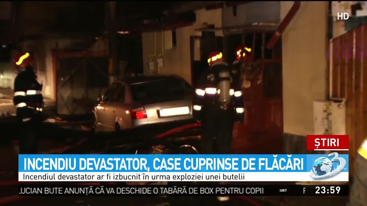 Incendiu puternic în Bucureşti. Şase case au fost cuprinse de flăcări