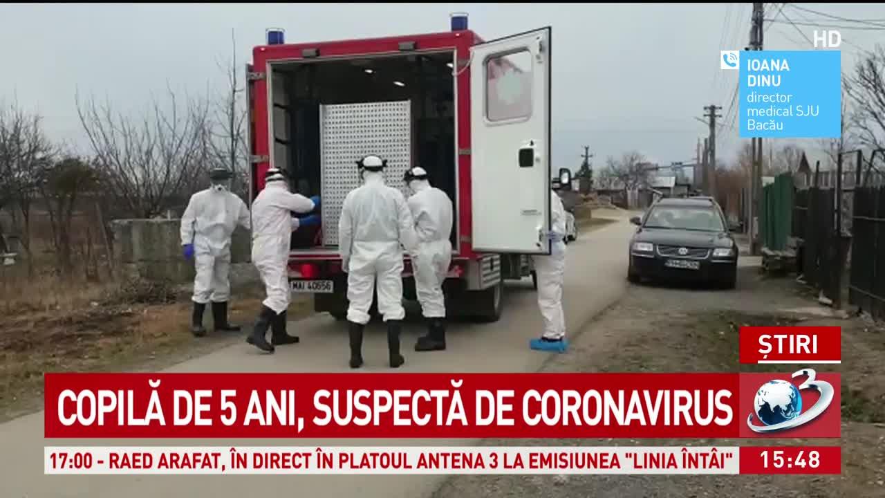 Fetiţă de cinci ani din Bacău, suspectă de coronavirus