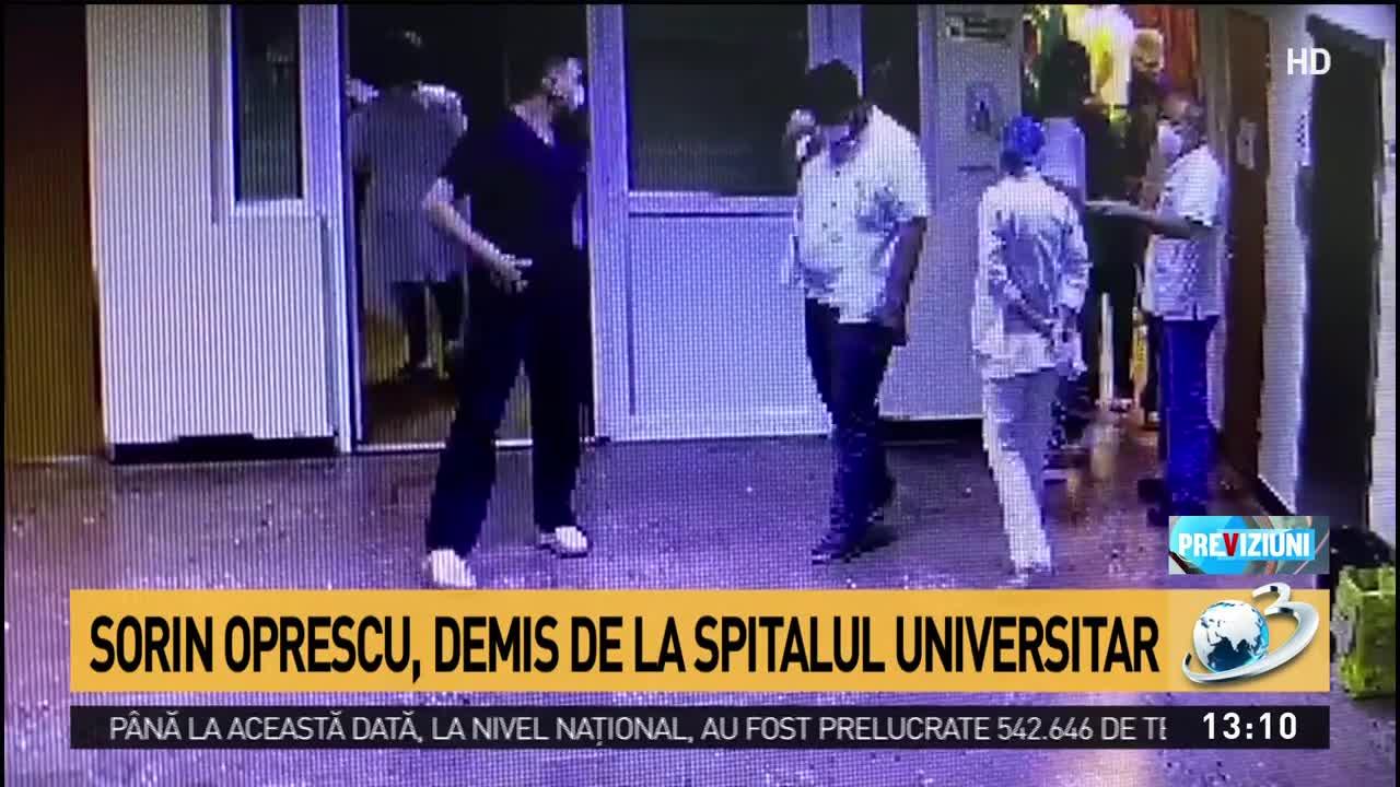 Sorin Oprescu a fost demis de la Spitalul Universitar. A fost filmat încălcând regulile de protecție sanitară