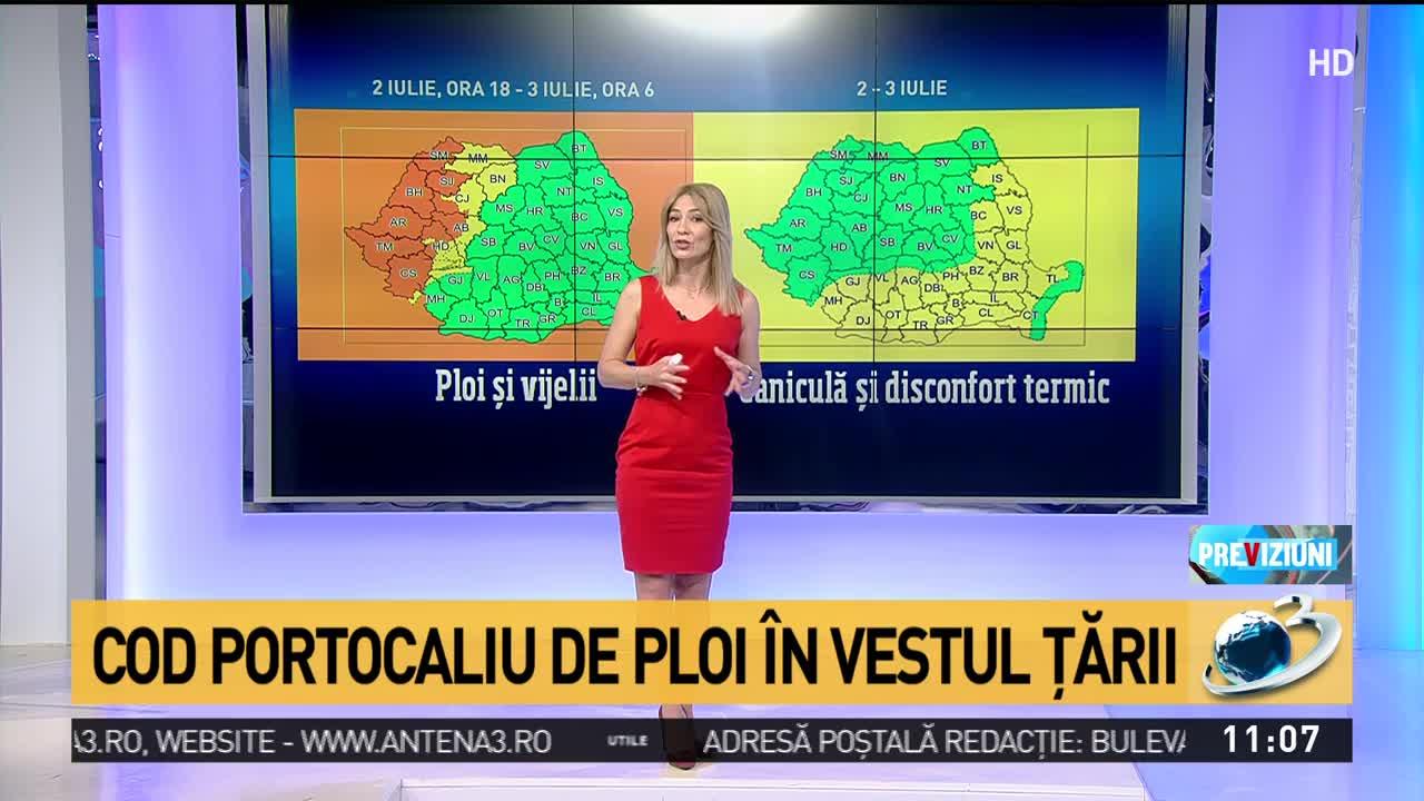 Cod portocaliu de ploi în Vestul țării și cod galben de caniculă în Estul și Sudul țării