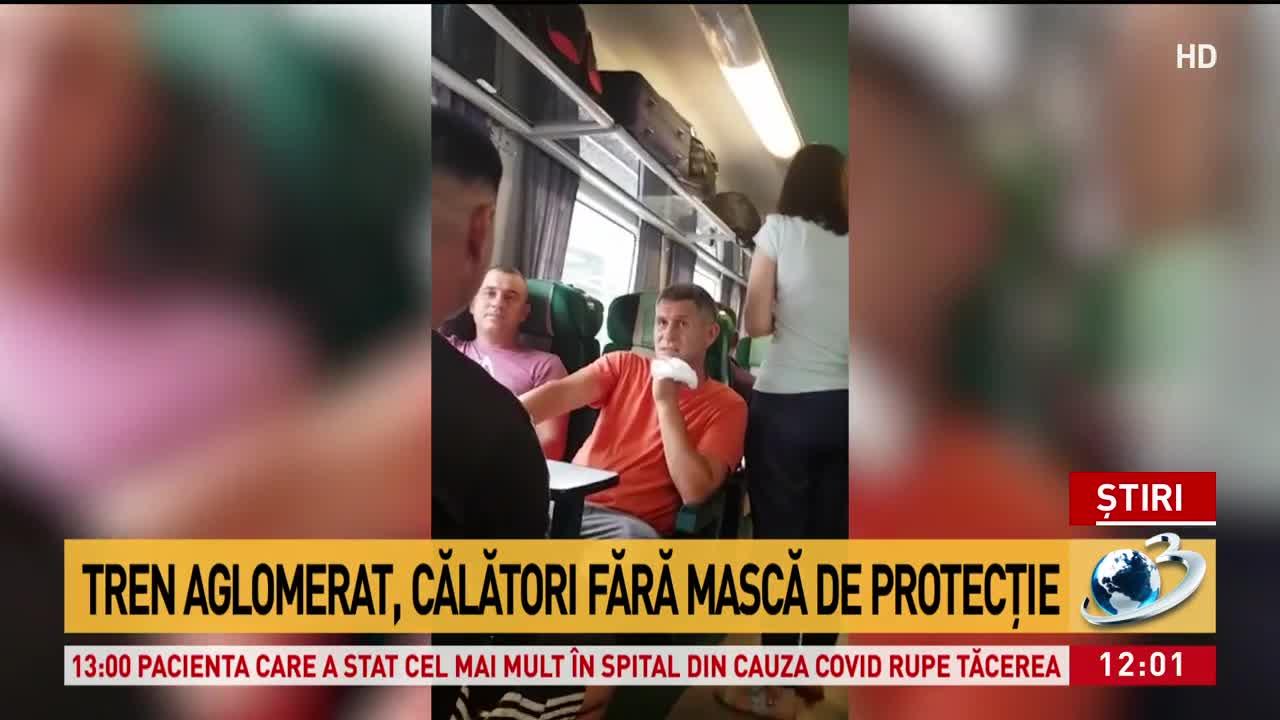 Situația revoltătoare în tren. Călătorii nu poartă mască, distanțarea greu de respectat - VIDEO