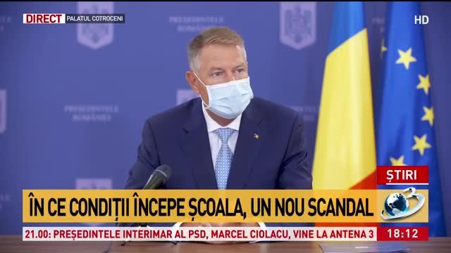 Klaus Iohannis: Școala trebuie să înceapă