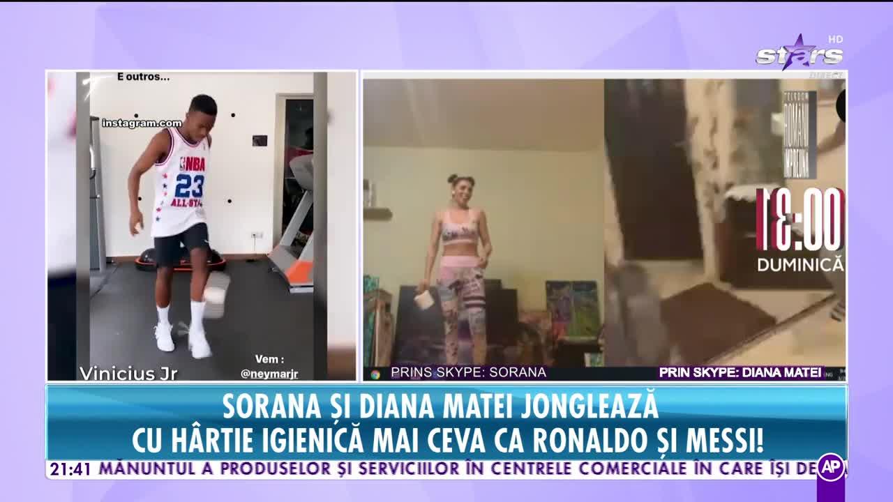 Sorana şi Diana Matei jonglează cu hârtia igienică mai ceva ca Ronaldo şi Messi!