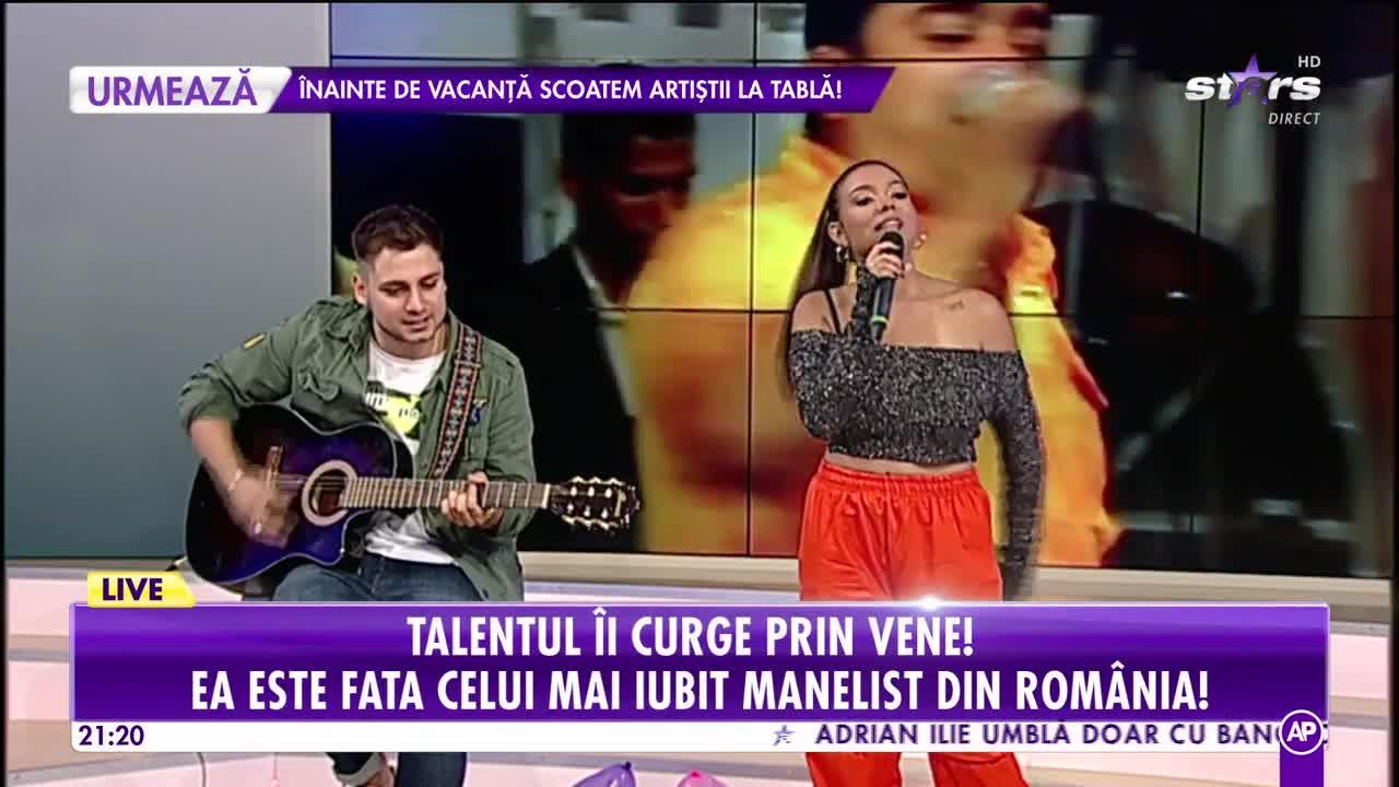 Adriana Simionescu are o voce de aur. Fiica lui Adi Minune, demonstrație live în platorul Showbiz Report