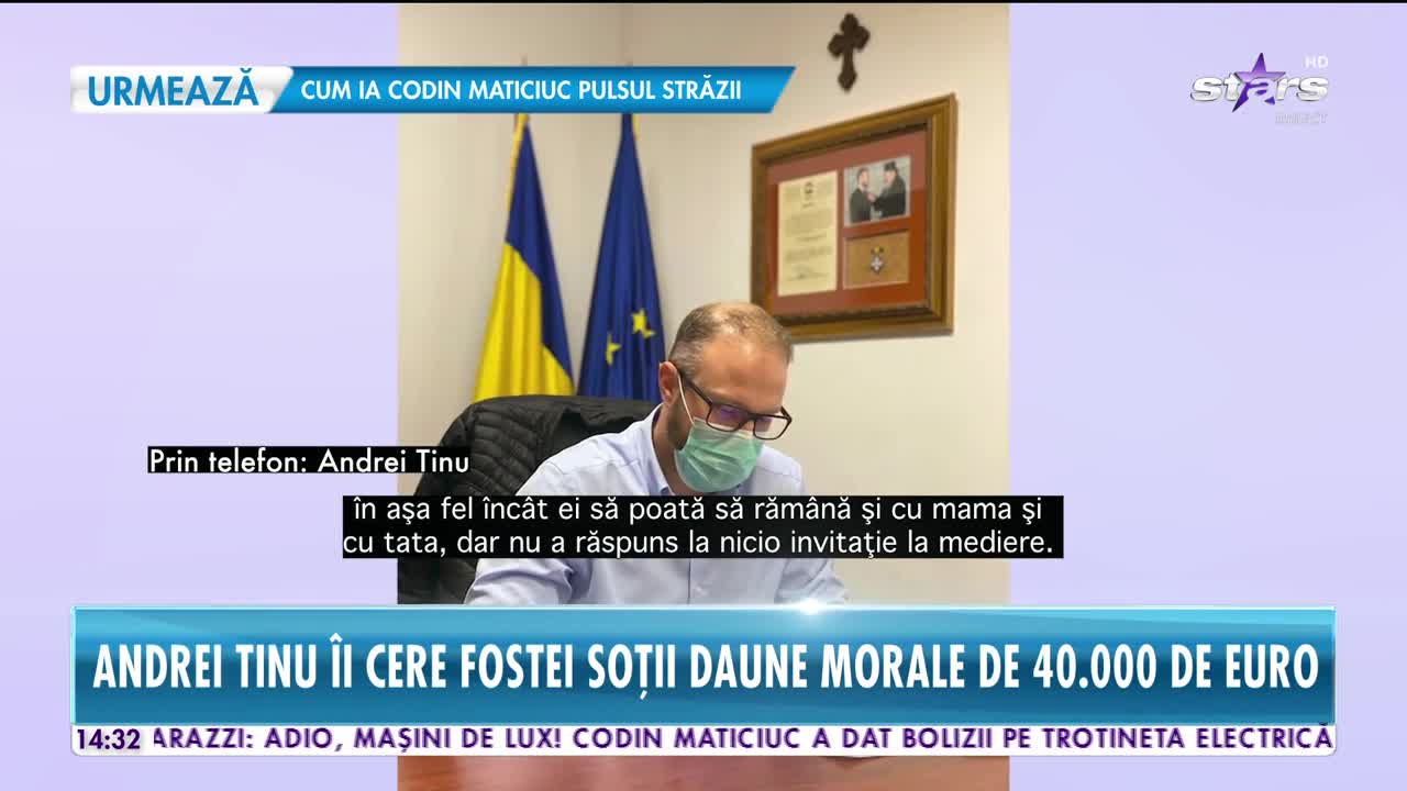 Andrei Tinu îi cere fostei soții daune morale de 40.000 de euro